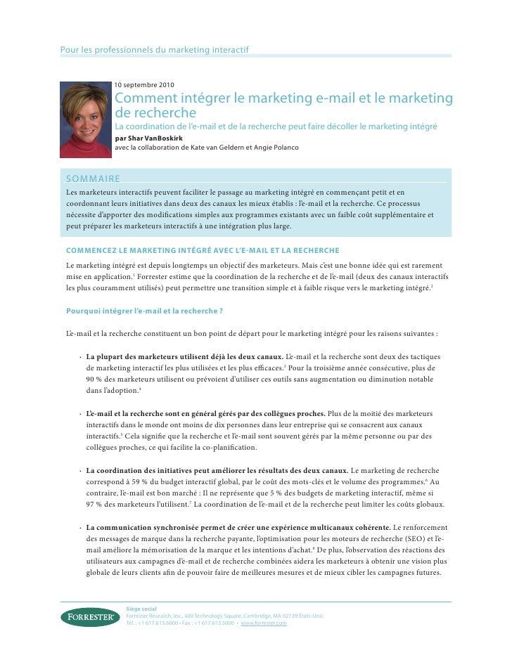 Pour les professionnels du marketing interactif               10 septembre 2010                Comment intégrer le marketi...