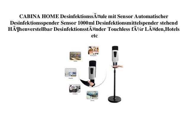 CABINA HOME Desinfektionssäule mit Sensor Automatischer Desinfektionsspender Sensor 1000ml Desinfektionsmittelspender steh...