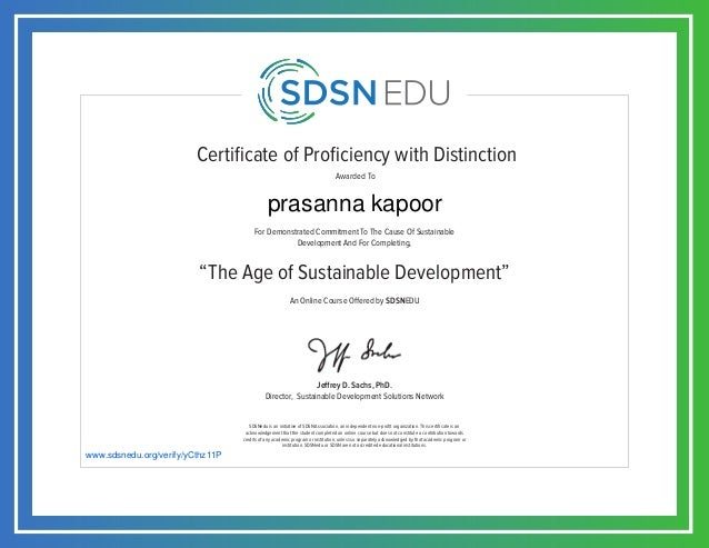 Certificate of Proficiency with Distinction For Demonstrated Commitment To The Cause Of Sustainable Development And For Co...