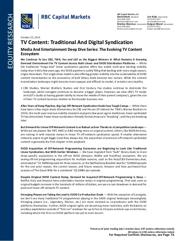 TV Content Traditional And Digital Syndication