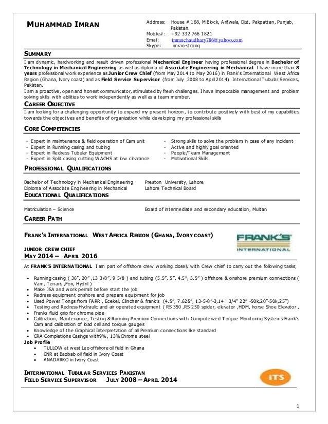 Crew Chief Resume | Resume Imran