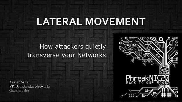 LATERAL MOVEMENT How attackers quietly transverse your Networks Xavier Ashe VP, Drawbridge Networks @xavierashe