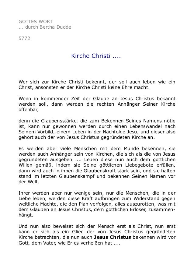 GOTTES WORT ... durch Bertha Dudde 5772 Kirche Christi .... Wer sich zur Kirche Christi bekennt, der soll auch leben wie e...