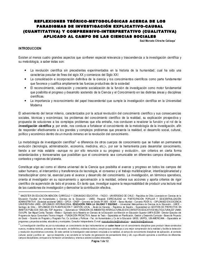REFLEXIONES TEÓRICO-METODOLÓGICAS ACERCA DE LOS PARADIGMAS DE INVESTIGACIÓN EXPLICATIVO-CAUSAL (CUANTITATIVA) Y COMPRENSIV...