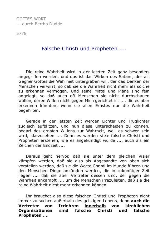 GOTTES WORT ... durch Bertha Dudde 5778 Falsche Christi und Propheten .... Die reine Wahrheit wird in der letzten Zeit gan...