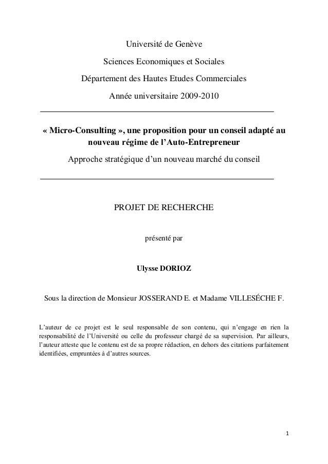 1 Université de Genève Sciences Economiques et Sociales Département des Hautes Etudes Commerciales Année universitaire 200...