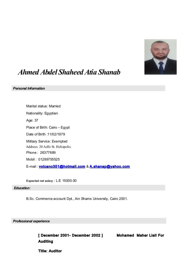 Ahmed Abdel Shaheed Atia Shanab Personal Information Marital status: Married Nationality: Egyptian Age: 37 Place of Birth:...