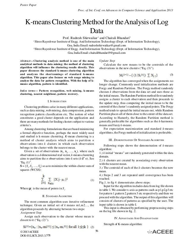 Poster Paper Proc. of Int. Conf. on Advances in Computer Science and Application 2013  K-means Clustering Method for the A...