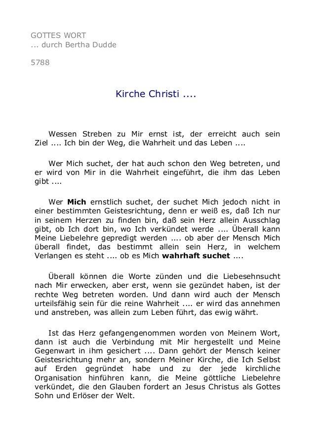 GOTTES WORT ... durch Bertha Dudde 5788 Kirche Christi .... Wessen Streben zu Mir ernst ist, der erreicht auch sein Ziel ....