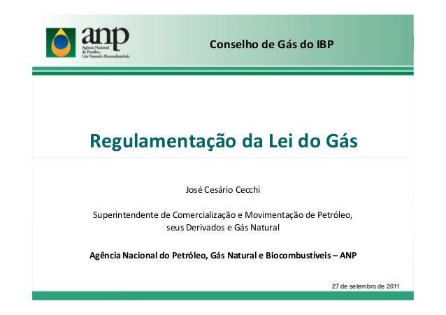 Regulamentação da Lei do GásConselho de Gás do IBPJosé Cesário CecchiSuperintendente de Comercialização e Movimentação de ...