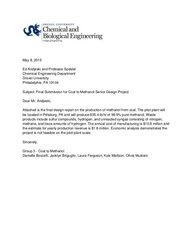 Coal To Methanol Senior Design Project Final Report