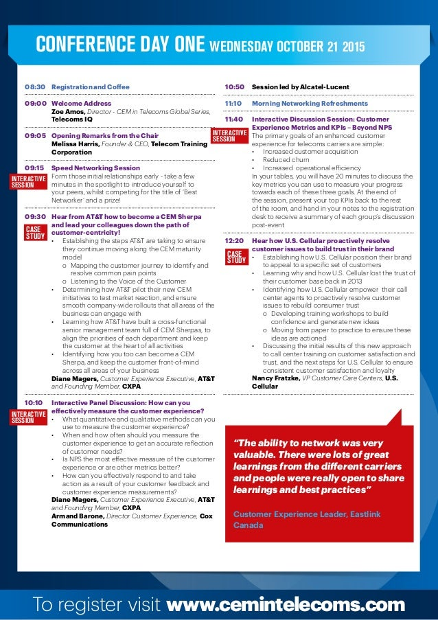 To register visit www.cemintelecoms.com Interactive session Interactive session Interactive session CASE STUDY CASE STUDY ...