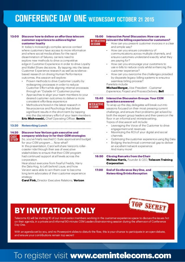 To register visit www.cemintelecoms.com 13:00  Discover how to deliver an effortless telecom   customer experience to ...