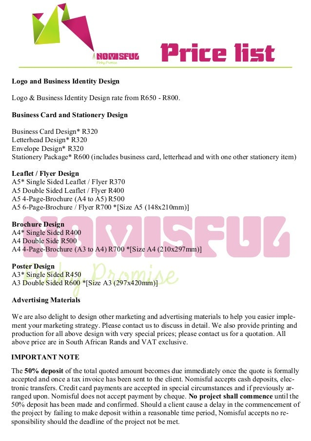 Brochure design price list selol ink brochure design price list colourmoves