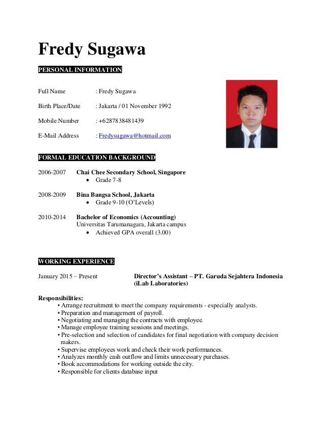 CV JOBSTREET. Fredy Sugawa PERSONAL INFORMATION Full Name : Fredy Sugawa  Birth Place/Date : Jakarta ...
