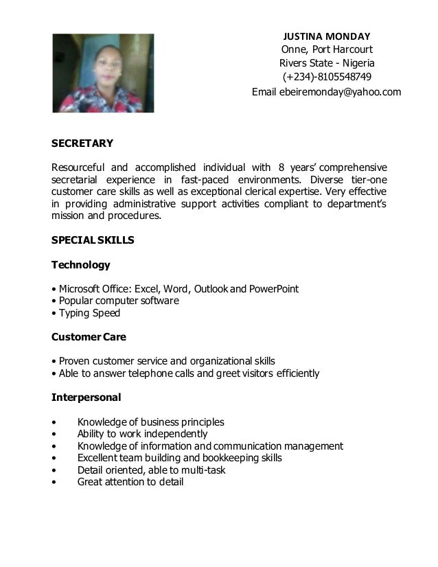 SECRETARY ...  Resume For Secretary