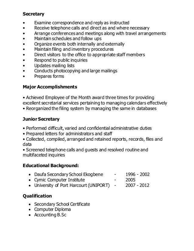 school secretary resume sample company secretary resume sample