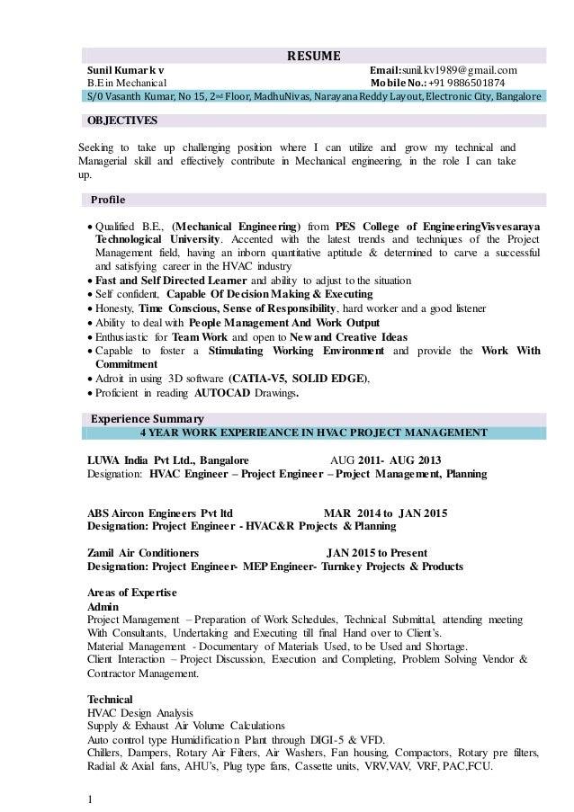 Sunil Kumar K V- Mechanical Resume