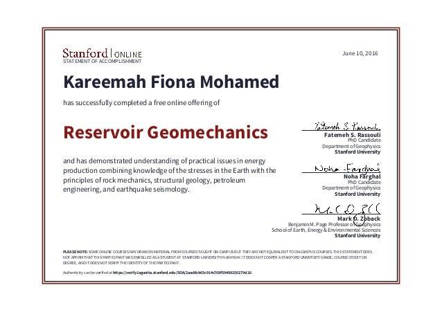 Geomechanics Certificate