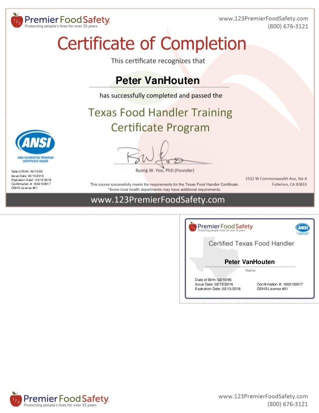 Texas Food Handler Certificate 1602130017