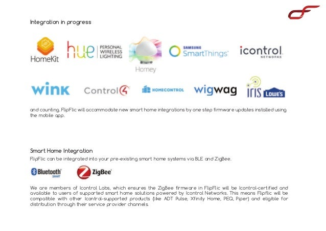 Smart Home Integration Integration in progress FlipFlic can be integrated into your pre-existing smart home systems via BL...