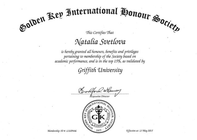Golden key international honour society membership certificate for National honor society certificate template