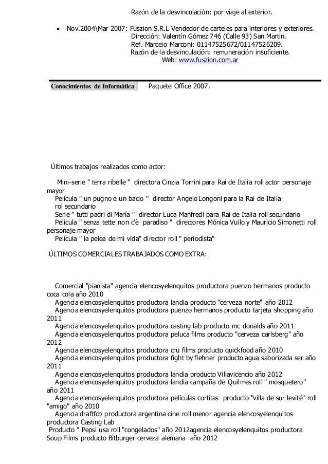 Contemporáneo Muestra De Curriculum De Actor Ilustración - Colección ...