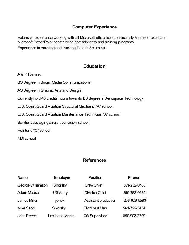 aviation resume 12 15 15