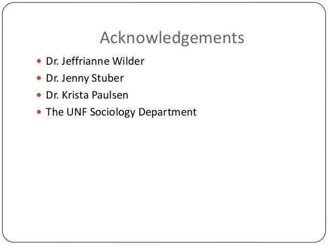 Acknowledgements  Dr. Jeffrianne Wilder  Dr. Jenny Stuber  Dr. Krista Paulsen  The UNF Sociology Department