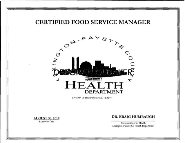 Cerificate Templates: Food Handlers Certificate Free