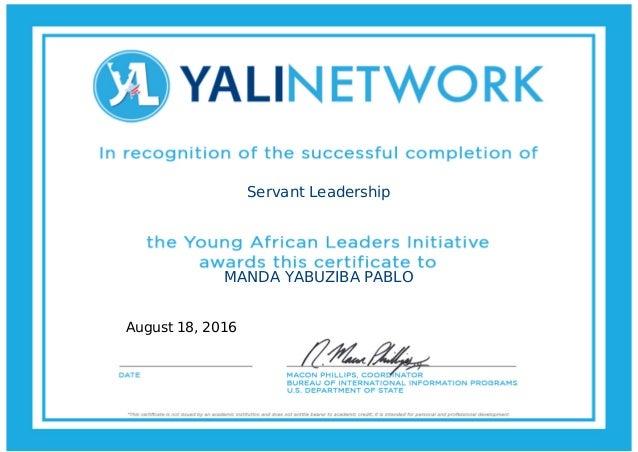 Servant Leadership MANDA YABUZIBA PABLO August 18, 2016