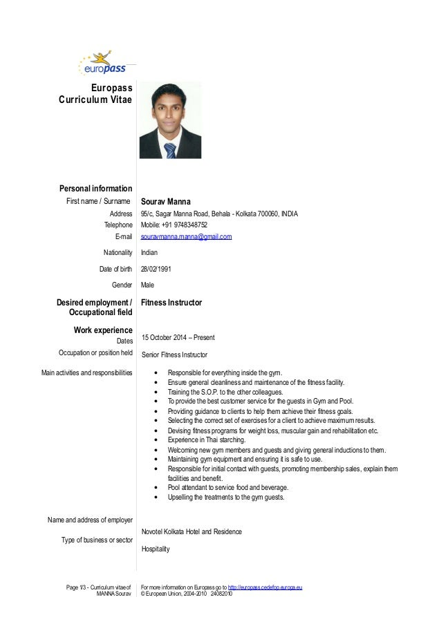 Cv For Gym Instructor Grude Interpretomics Co