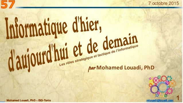 Mohamed Louadi, PhD – ISG-Tunis mlouadi@louadi.com 1Mohamed Louadi, PhD – ISG-Tunis mlouadi@louadi.com 1Mohamed Louadi, Ph...