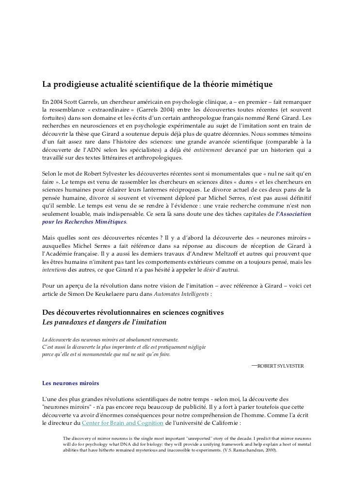 LaprodigieuseactualitéscientifiquedelathéoriemimétiqueEn2004ScottGarrels,unchercheuraméricainenpsycholog...