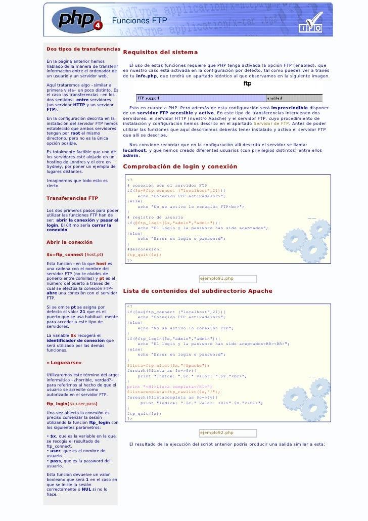 Funciones FTP   Dos tipos de transferencias                                       Requisitos del sistema En la página ante...