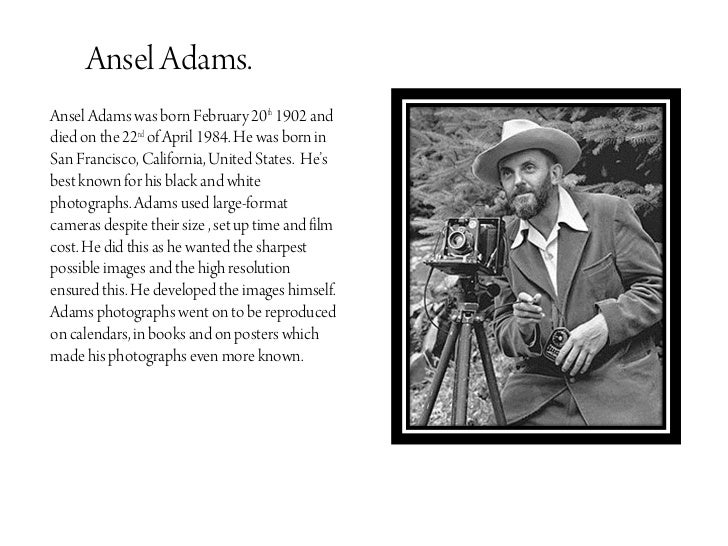 Ansel helped to establish the first department of photography at a museum  at the Museum of Modern Art in New York  Alan Ross Photography