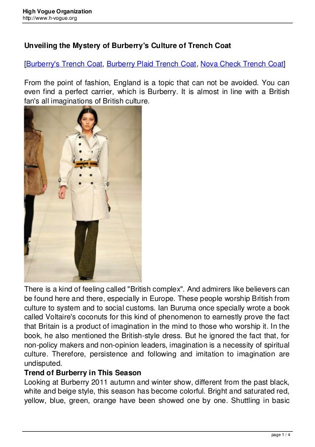 High Vogue Organization http://www.h-vogue.org Unveiling the Mystery of Burberry's Culture of Trench Coat [Burberry's Tren...