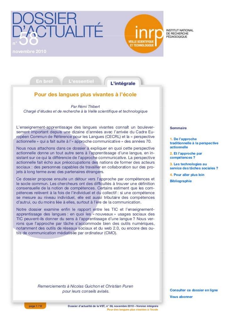 n°   58novembre 2010            Pour des langues plus vivantes à l'école                               Par Rémi Thibert   ...