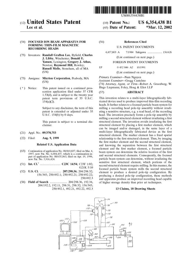 (12) United States Patent Lee et al. (54) FOCUSED ION BEAM APPARATUS FOR FORMING THIN-FILM MAGNETIC RECORDING HEADS (75) I...