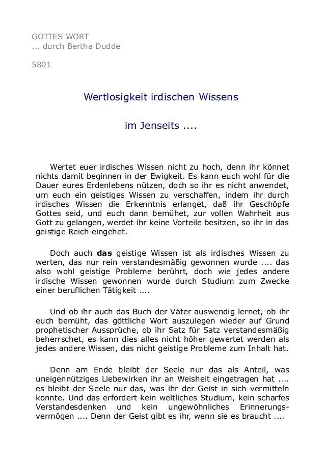 GOTTES WORT  ... durch Bertha Dudde  5801  Wertlosigkeit irdischen Wissens  im Jenseits ....  Wertet euer irdisches Wissen...