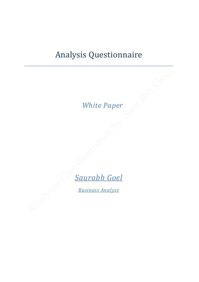 analysis questionnaire white paper