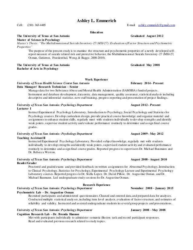 Ashley Emmerich 2015 Resume Academic Research