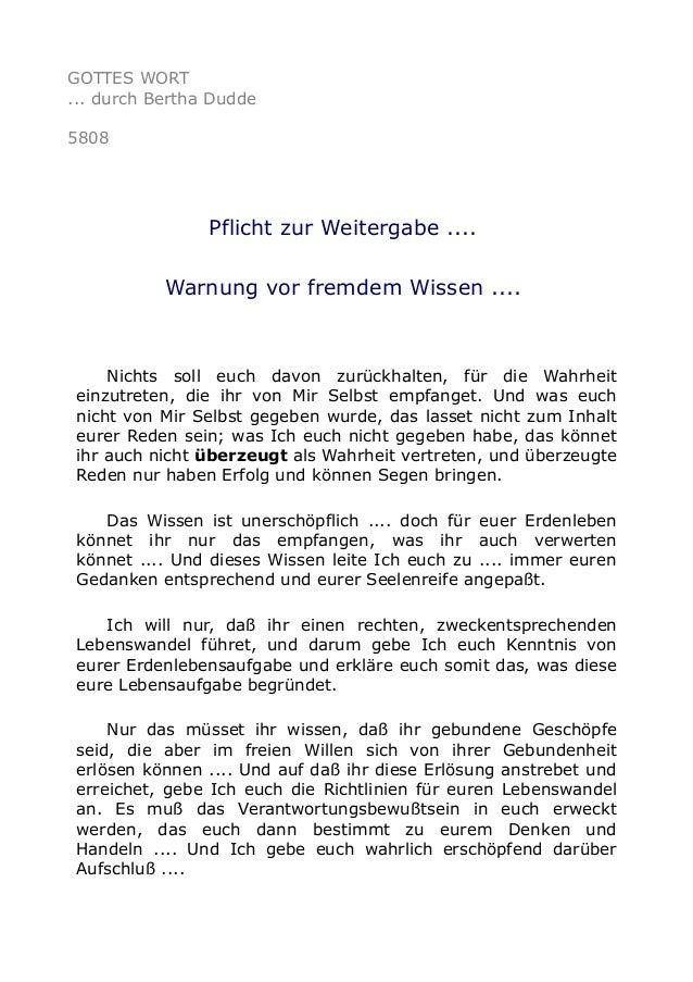 GOTTES WORT  ... durch Bertha Dudde  5808  Pflicht zur Weitergabe ....  Warnung vor fremdem Wissen ....  Nichts soll euch ...
