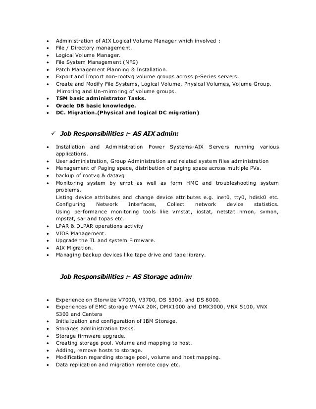 aix system admin resume