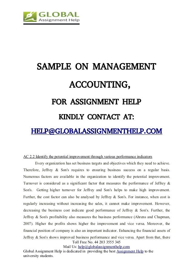 management accounting assignment sample global assignment help 10