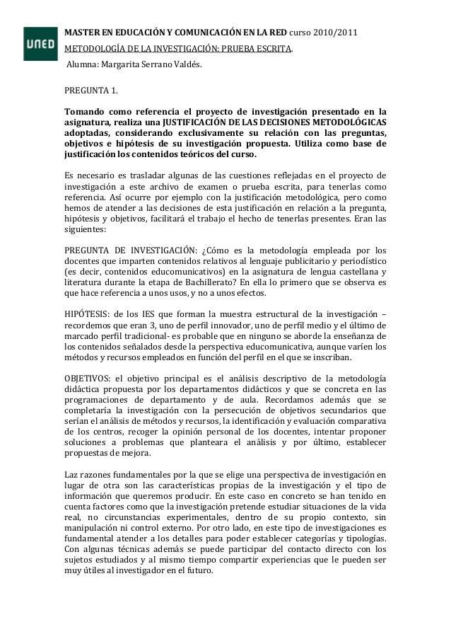 MASTER  EN  EDUCACIÓN  Y  COMUNICACIÓN  EN  LA  RED  curso  2010/2011   METODOLOGÍA  DE  LA  INV...