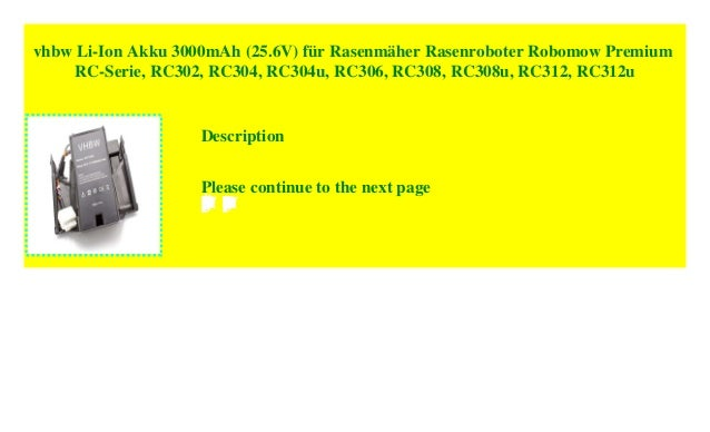 Premium Batterie 3000 mAh 25,6 V pour Robomow Premium rc302 rc308u rc304u rc312u