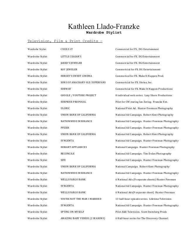 Kathleen Llado Franzke Wardrobe Stylist Television, Film U0026 Print Credits U2013 Wardrobe  Stylist CHEEZ ...  Wardrobe Stylist Resume