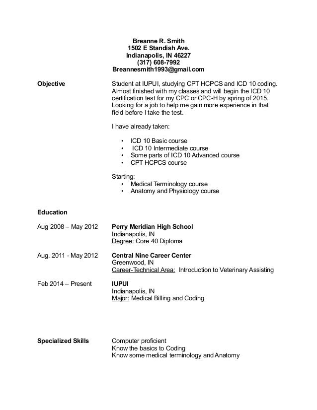 Icd 10 Medical Coder Resume