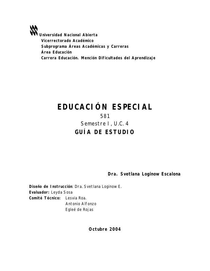 Universidad Nacional Abierta      Vicerrectorado Académico      Subprograma Áreas Académicas y Carreras      Área Educació...